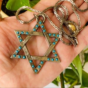 Jewelry - Star of David Pendant Necklace Turquoise Large